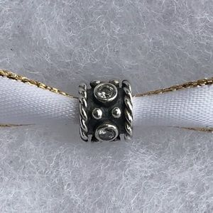 AuthenticPANDORA Oxy Crown Oxidized Charm Clear CZ